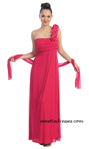 Elegant One Shoulder Chiffon Long Dress