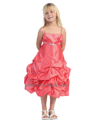 Rhinestone taffeta pickup girl dress