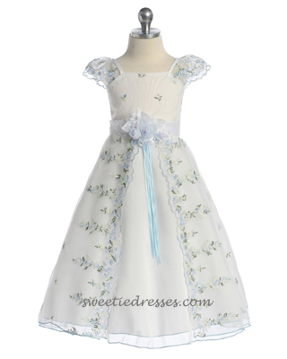 Lace cap sleeve organza girl dress