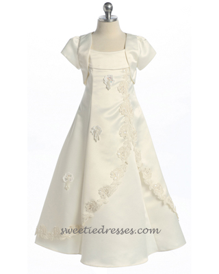 Communion bolero simple girl dress