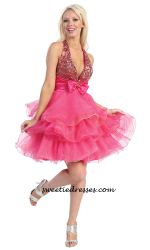 Halter ribbon 3-tulle layered dress