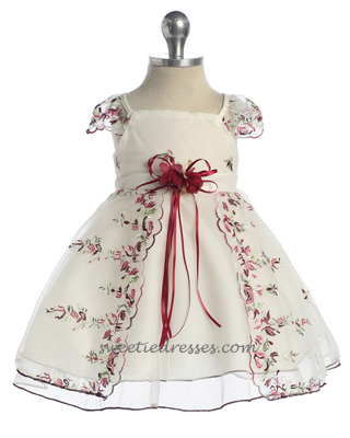 Lace cap sleeve organza baby dress