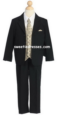 Boy Suit w/Checkered Vest&Tie