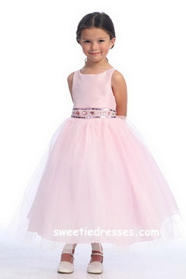 Beaded Bodice W/Tulle Skirt Girl Dress