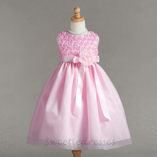 Flower Taffeta Tulle Layered Girl Dress
