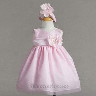 Sleeveless Taffeta Flower Girl Dress With Bloomed Floral