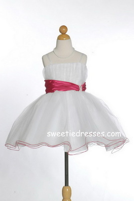 Cute satin dress w/ triple tulle layer skirt