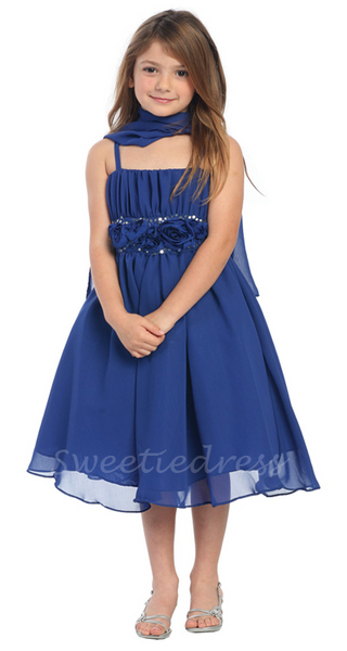 Rosy Duched Chiffon Flower Girl Dress