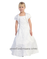 Floral beeded bolero communion girl dress