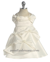 Spaghetti satin off-shoulder baby dress